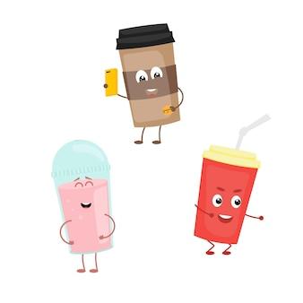 Ensemble de personnages drôles de boisson. illustration en style cartoon sur fond blanc.
