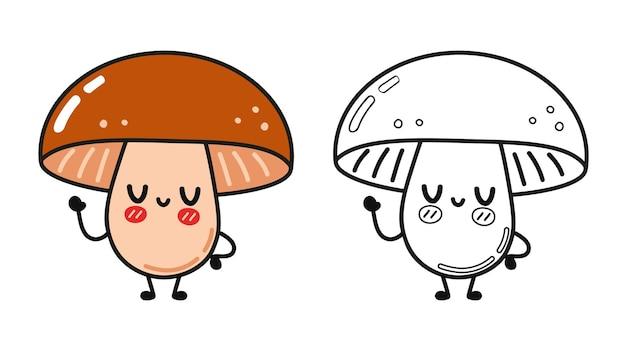 Ensemble de personnages drôles de champignons heureux mignons