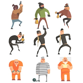 Ensemble de personnages drôles de criminels et de condamnés