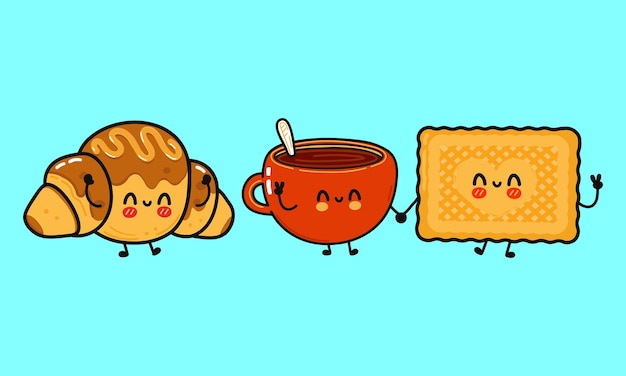 Ensemble de personnages drôles et mignons de biscuits heureux en verre de lait et de croissant au chocolat