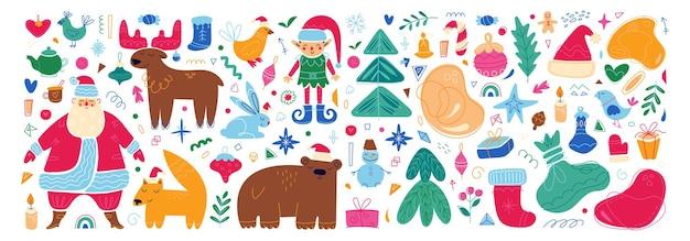 Ensemble de personnages et d'éléments de joyeux noël icônes confortables de vacances de nouvel an illustration de dessin animé
