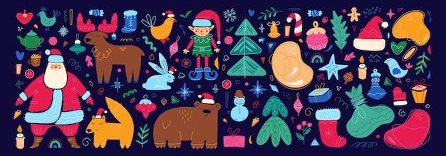 Ensemble de personnages et d'éléments de joyeux noël icônes de vacances du nouvel an illustration de couleur de dessin animé