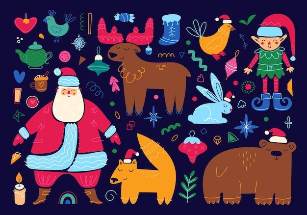 Ensemble de personnages et d'éléments de joyeux noël icônes de vacances de nouvel an illustration de dessin animé mignon