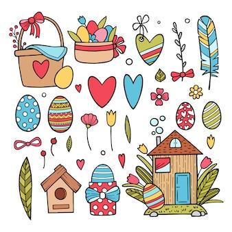 Ensemble de personnages et d'éléments de pâques mignons. joyeuses pâques. scrapbooking ensemble d'éléments panier avec des oeufs, des fleurs.