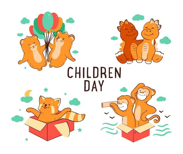 L'ensemble des personnages d'enfants, singe, hamster, panda rouge, dinosaure.