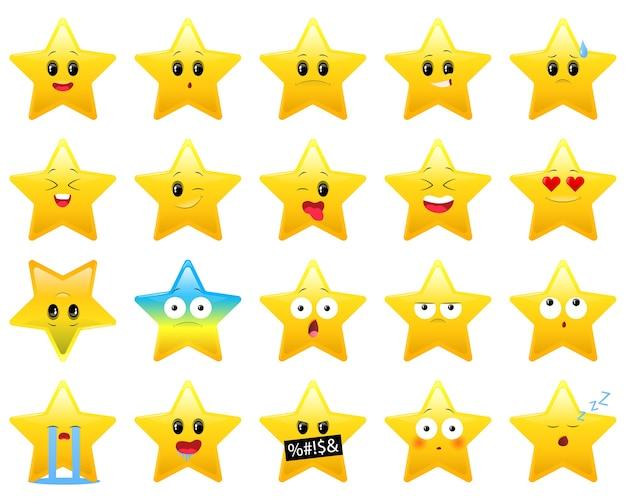Ensemble de personnages étoiles avec différentes émotions