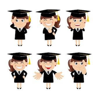 Ensemble de personnages d'étudiants diplômés dans différentes poses