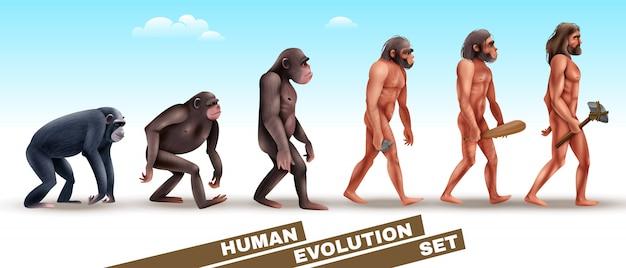 Ensemble de personnages de l'évolution humaine