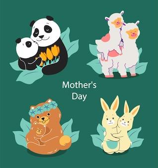 Ensemble de personnages de la famille sur l'amour aux mamans.
