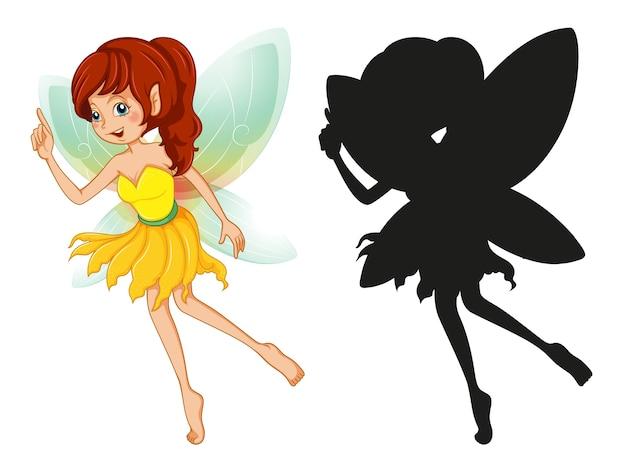 Ensemble de personnages de fées et sa silhouette sur blanc