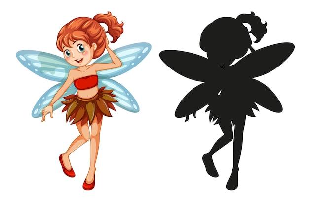 Ensemble de personnages de fées et sa silhouette