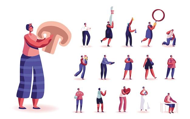 Ensemble de personnages féminins avec un énorme champignon, une quille de bowling et une loupe, un tas de coffrets cadeaux, un coeur rouge et un bouquet de fleurs de mariée isolé sur fond blanc. illustration vectorielle de gens de dessin animé