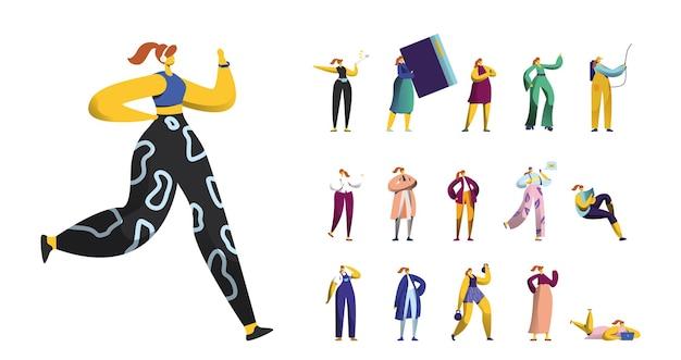 Ensemble de personnages féminins faisant de l'exercice, prenant un selfie sur un smartphone, des travaux de désinfection des femmes, un livre de lecture, une séance d'entraînement avec des haltères isolés sur fond blanc. illustration vectorielle de gens de dessin animé