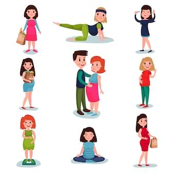 Ensemble de personnages de femmes enceintes dans des poses différentes. maman heureuse attend bébé, toucher le ventre, faire du shopping, méditer, marcher, faire de l'exercice, agiter la main.