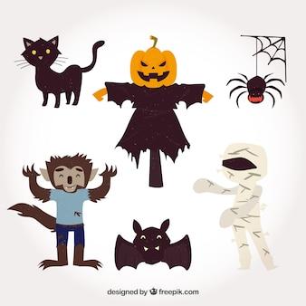 Ensemble de personnages de fêtes de halloween