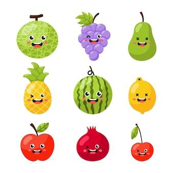 Ensemble de personnages de fruits tropicaux de dessin animé dans un style kawaii isolé sur blanc.
