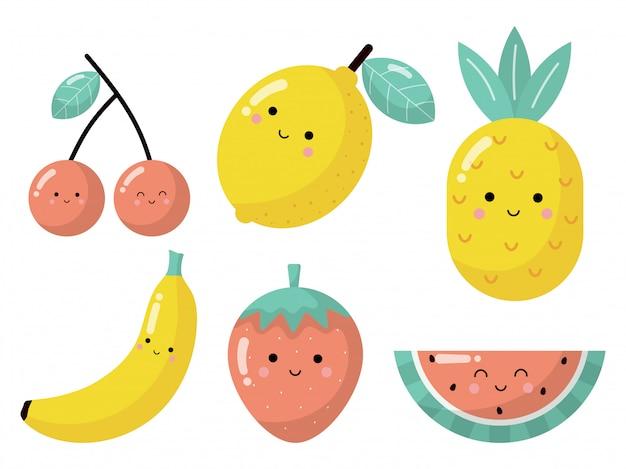 Ensemble de personnages de fruits tropicaux de dessin animé dans un style kawaii, isolé sur fond blanc.