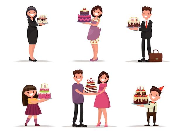 Ensemble de personnages avec un gâteau. employé de bureau, homme d'affaires, femme au foyer, enfants célèbrent. illustration dans un style
