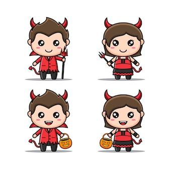 Ensemble de personnages d'halloween avec un costume de diable mignon