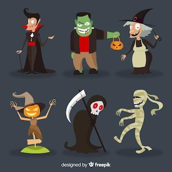 Ensemble de personnages halloween drôles