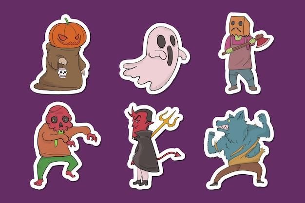 Ensemble de personnages d'halloween mignons dessinés à la main