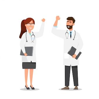 Ensemble de personnages heureux de dessin animé de médecin