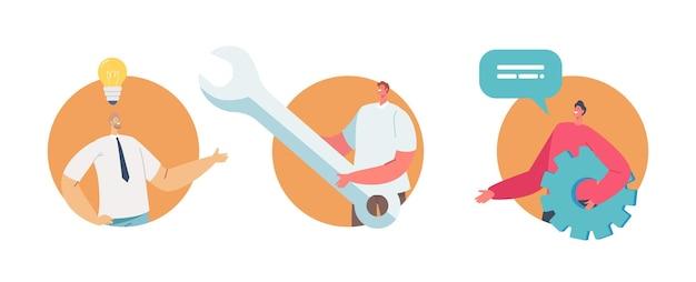 Ensemble de personnages d'hommes d'affaires minuscules tenant une clé à instruments énorme et une roue dentée, gestionnaire avec une ampoule rougeoyante au-dessus de la tête offre une idée de projet d'entreprise créative. illustration vectorielle de gens de dessin animé