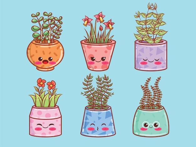 Ensemble de personnages et illustrations de dessin animé mignon pot de fleur d'été.