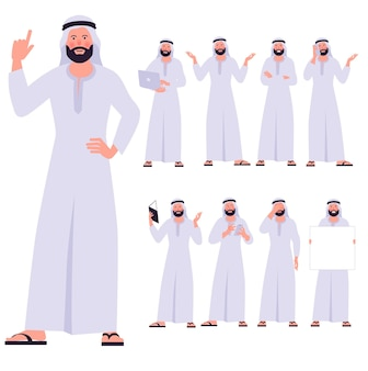 Ensemble de personnages de jeune homme arabe design plat