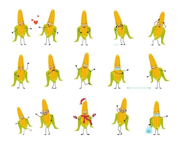 Ensemble de personnages de maïs avec des émotions face aux mains et aux jambes sourire ou aux légumes jaunes tristes avec les yeux qu'il...