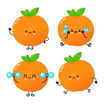 Ensemble de personnages de mandarin heureux mignon drôle