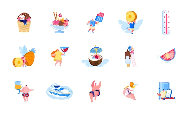 Ensemble de personnages masculins et féminins bénéficiant de vacances d'été et de loisirs de manger de la crème glacée