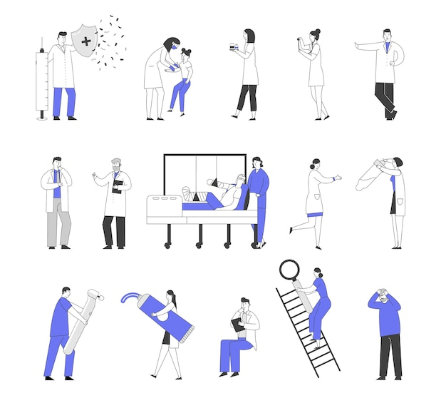 Ensemble de personnages masculins et féminins de médecins et de patients à l'hôpital