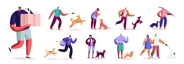 Ensemble de personnages masculins et féminins passant du temps avec des animaux de compagnie à l'extérieur
