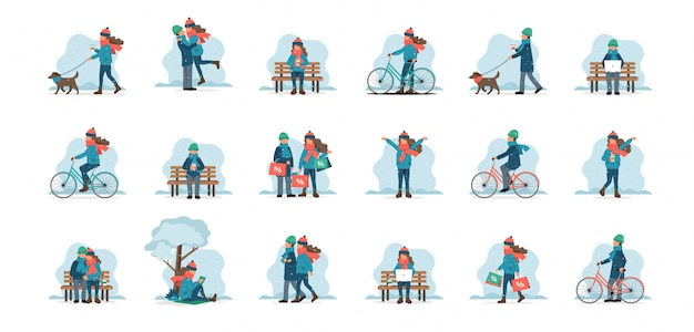 Ensemble de personnages masculins et féminins en plein air en vêtements d'hiver