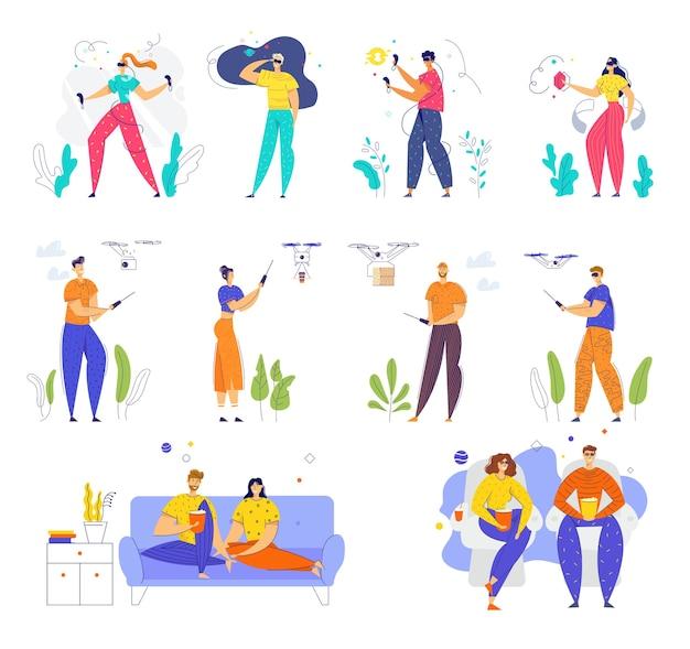 Ensemble de personnages masculins et féminins portant des lunettes vr, jouant avec un quadricoptère, visitant le cinéma et regardant la télévision à la maison