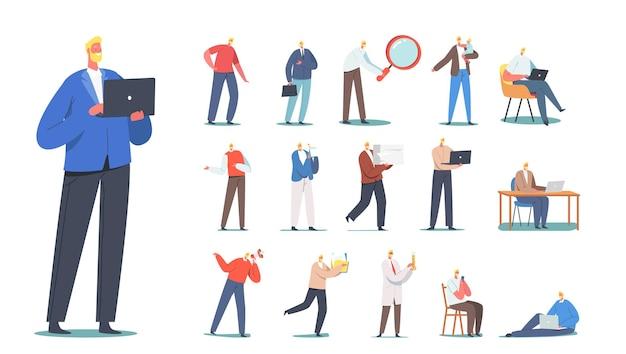 Ensemble de personnages masculins homme d'affaires avec sac, scientifique en blouse de laboratoire avec flacon, père avec fille sur les mains, pigiste avec ordinateur portable isolé sur fond blanc. illustration vectorielle de gens de dessin animé