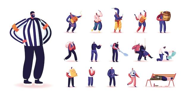 Ensemble de personnages masculins juge de hockey, musiciens indiens traditionnels avec tambours, fermier avec du miel, homme avec sac, cuillère et nourriture pour animaux de compagnie isolé sur fond blanc. illustration vectorielle de gens de dessin animé