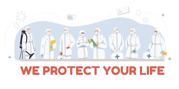 Ensemble de personnages de médecin de dessin animé plat et infirmières en illustration uniforme