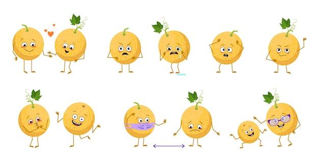 Ensemble de personnages de melon mignons avec des émotions face aux bras et aux jambes des héros heureux ou tristes fruits exotiques pla...