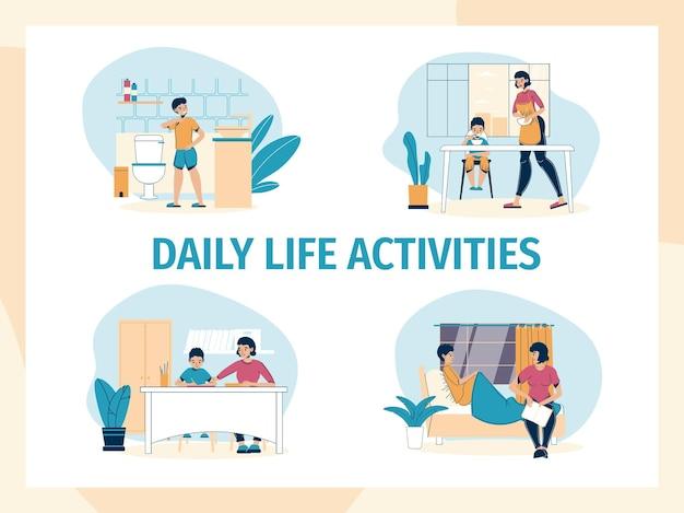 Ensemble de personnages mère et fils passant du temps, des scènes de routine quotidienne.
