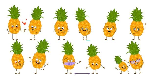 Ensemble de personnages mignons d'ananas avec des émotions face aux bras et aux jambes héros heureux ou tristes fruits exotiques...