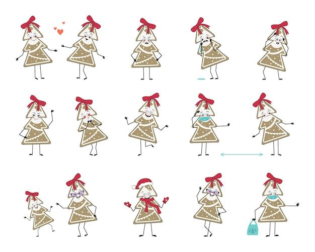 Ensemble de personnages de pain d'épice de noël avec des émotions face aux mains et aux pieds heureux ou triste nouvel an swee ...