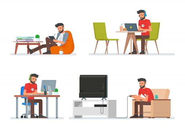 Ensemble de personnages de personnages de dessins animés dans un style plat. homme de hipster jouant à des jeux vidéo, lisant un livre électronique et travaillant avec un ordinateur. icônes de personnes isolées