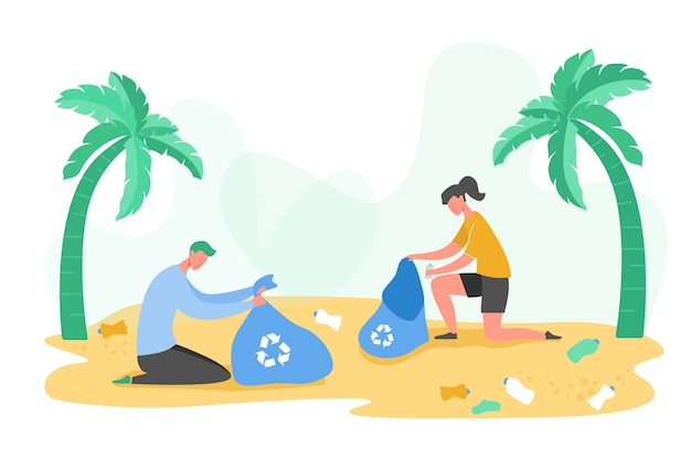 Ensemble de personnages de personnes bénévoles rassemblant des ordures et des déchets plastiques pour le recyclage, la protection de l'environnement et la séparation pour réduire le concept de pollution de l'environnement s