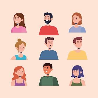 Ensemble de personnages de personnes