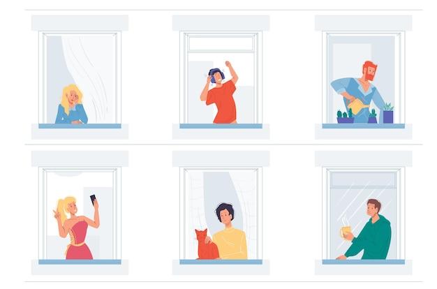 Ensemble de personnages plats de dessin animé faisant des choses différentes dans les fenêtres de la maison
