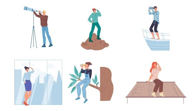 Ensemble de personnages plats de dessin animé regardant au loin à l'aide de jumelles et de la main