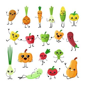 Ensemble de personnages plats kawaii de légumes mignons