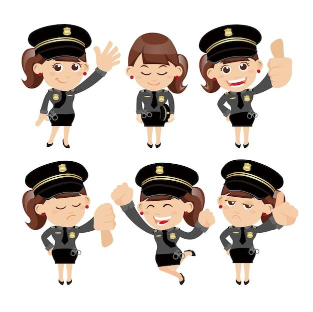 Ensemble de personnages policiers dans différentes poses